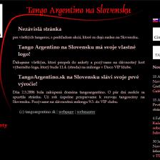 Štart prvej verzie stránky TangoArgentino.sk (2006)